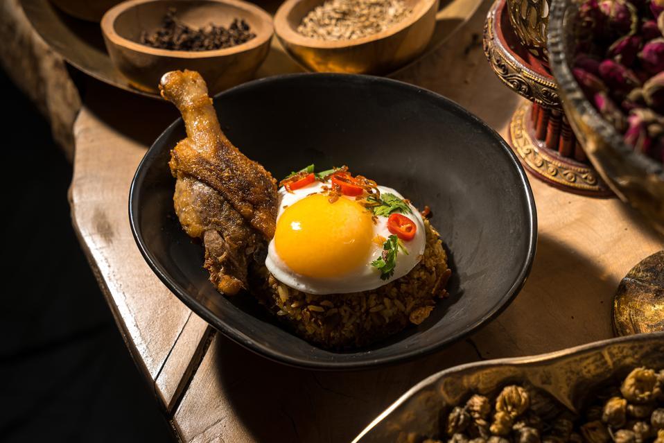 Duck stir-fried rice at Wayan