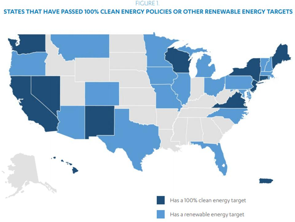 100% clean energy policies or renewable energy targets