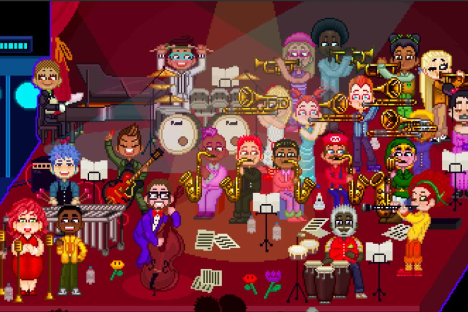 The 8-Bit Big Band in all their pixelated glory