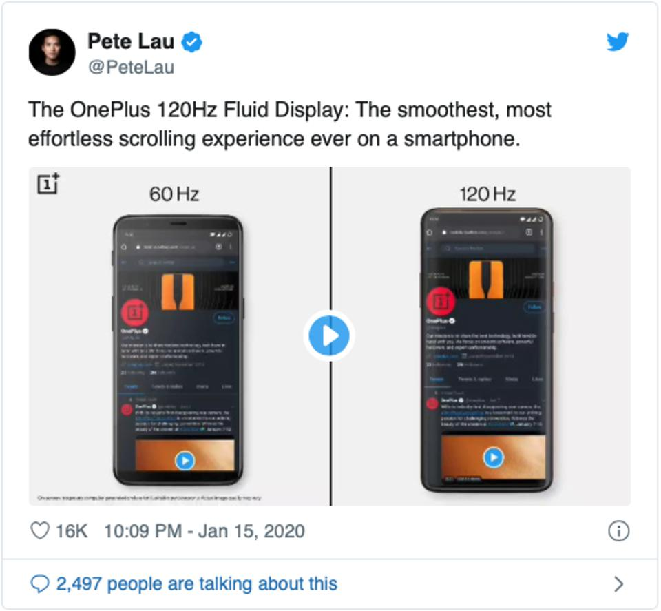 Pete Lau, CEO of OnePlus, all but confirming that the next OnePlus device will run on a 120Hz display panel.