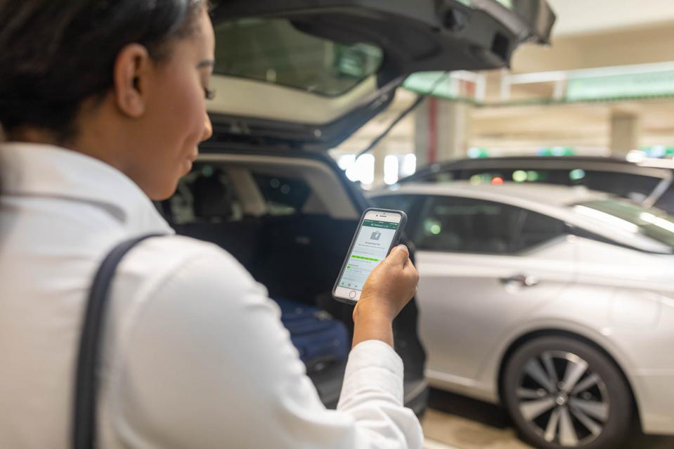A customer uses the National app to rent a car. National, which is owned by Enterprise, has been making incremental upgrades to its app to improve the customer experience.