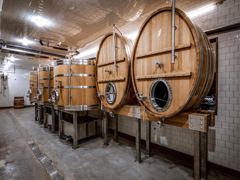 The Brewer's Table in Austin uses six large foeders and open fermentation to brew its beer.