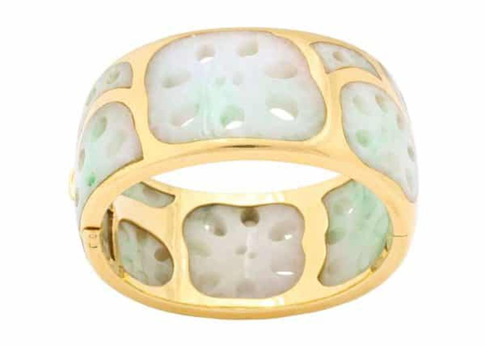 Angela Cummings vintage lotus jadeite bangle bracelet 18-karat gold