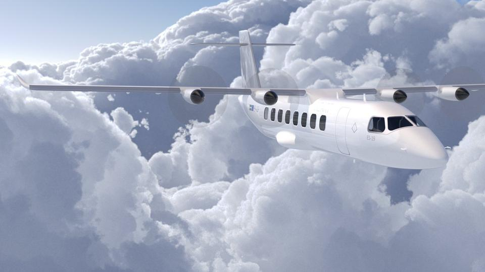 Mock-up of Heart Aerospace ES-19 electric airliner.