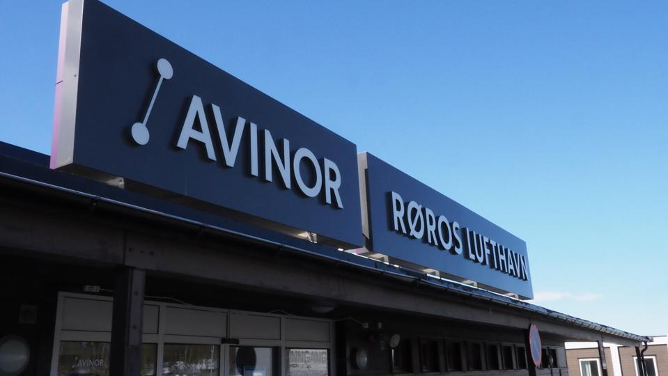 Røros Airport signage in Norway.