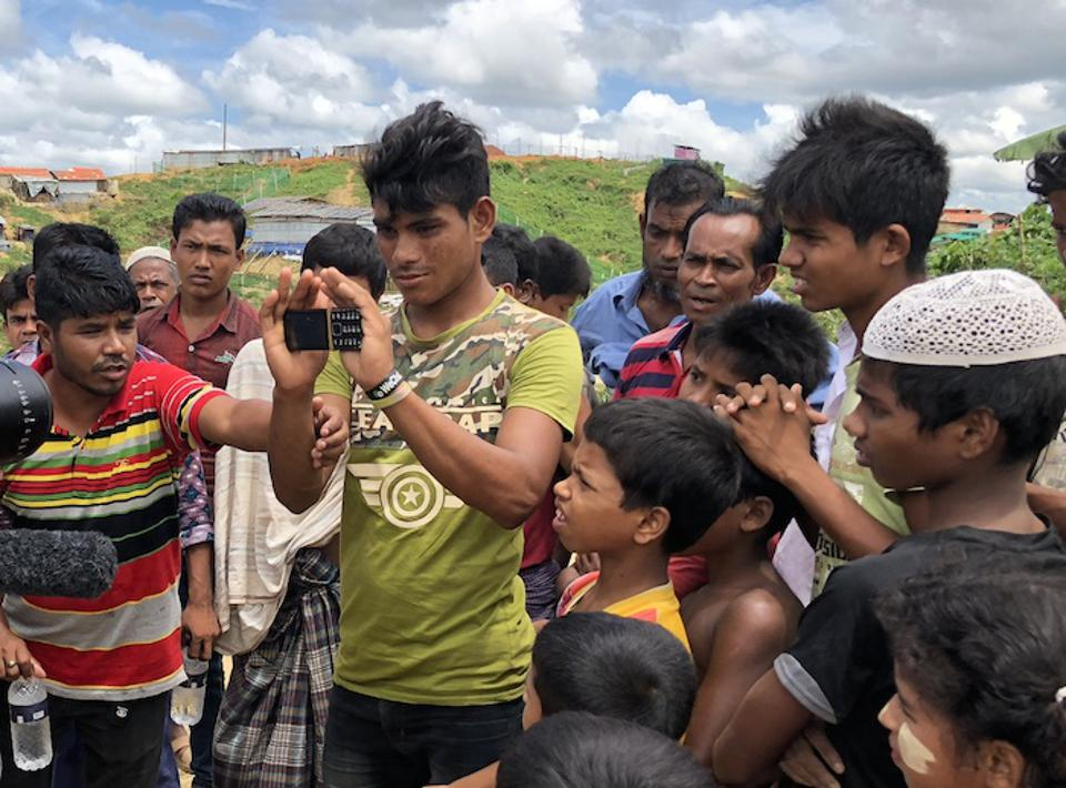 Rohingya refugees get a look at a new blockchain-enabled messaging service.