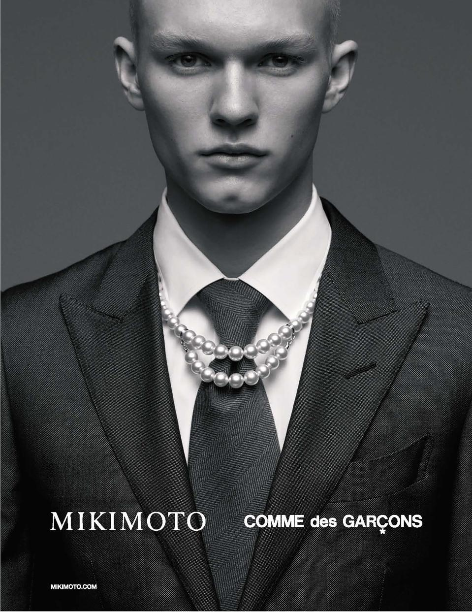 The Comme des Garçons x Mikimoto ad, shot by Kazumi Kurigami and featuring Kalle Meye at Select.