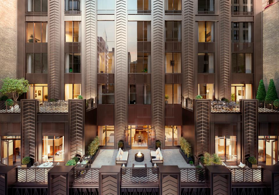 Terraces on an Art Deco building.