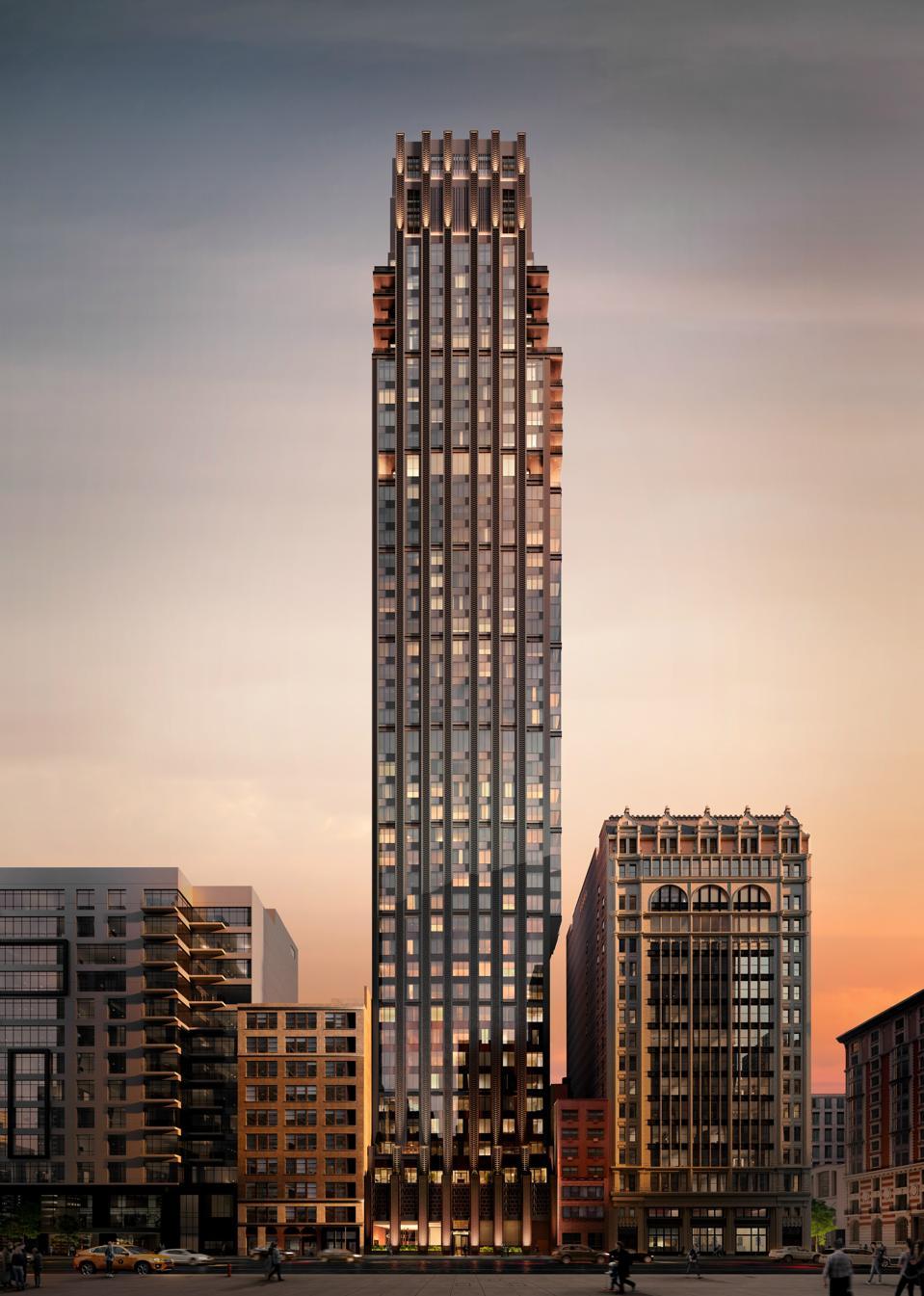 An Art Deco tower.