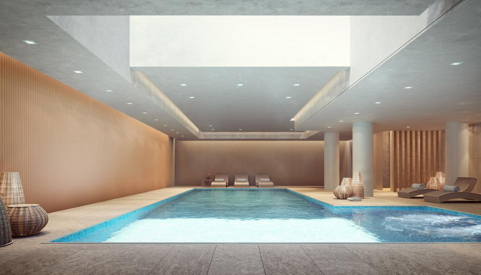 A pool with a skylight.