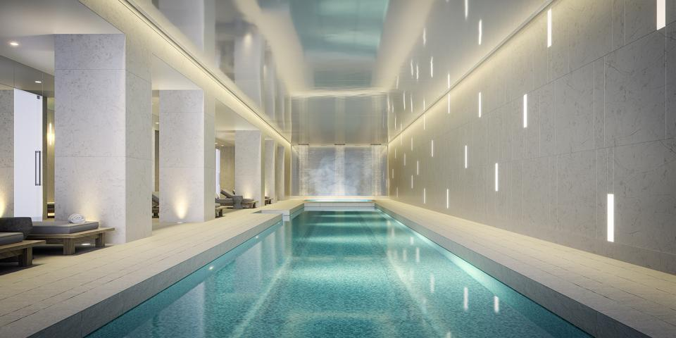 A long indoor pool.