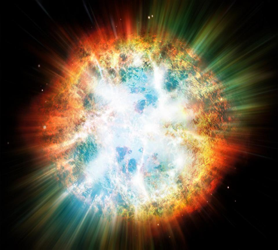 Illustration of a planet or star explosion.