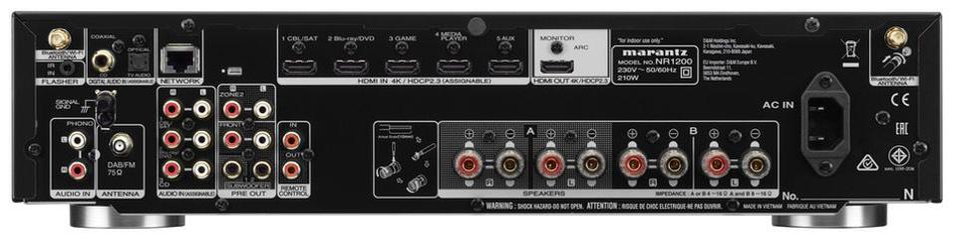 Rearview of Marantz NR1200 stereo receiver