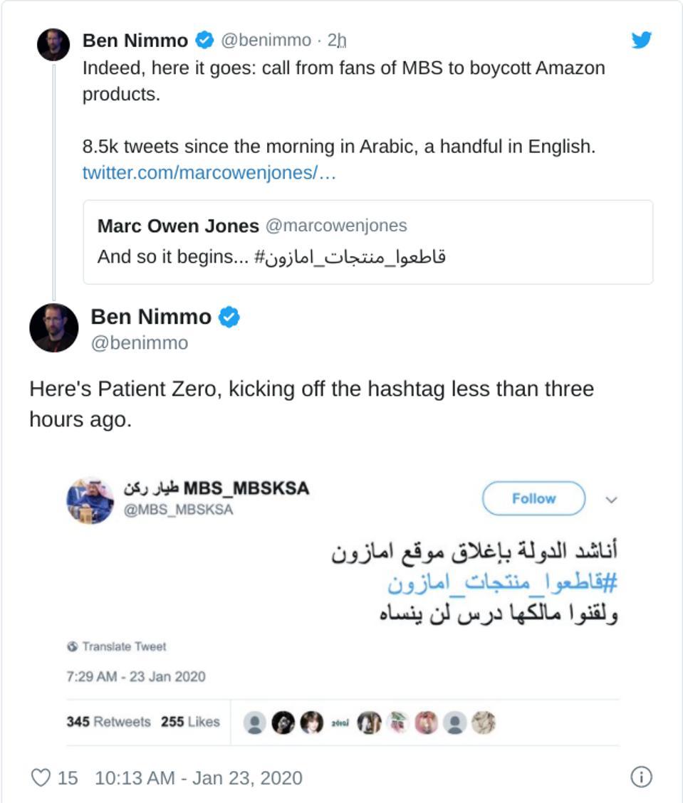 Twitter account promotes Amazon boycott after Saudi accused of hacking Bezos' phone.