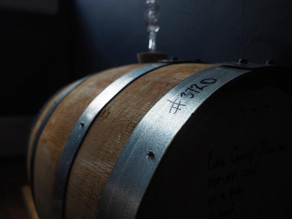One of Jason's homebrews aging in a barrel.