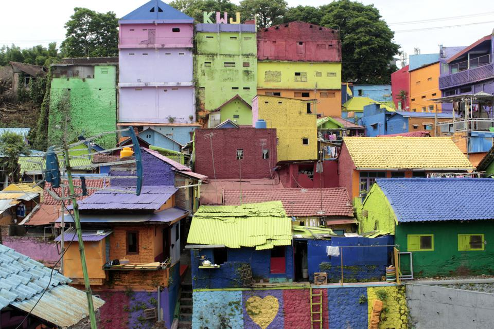 A A colorful Indonesian village