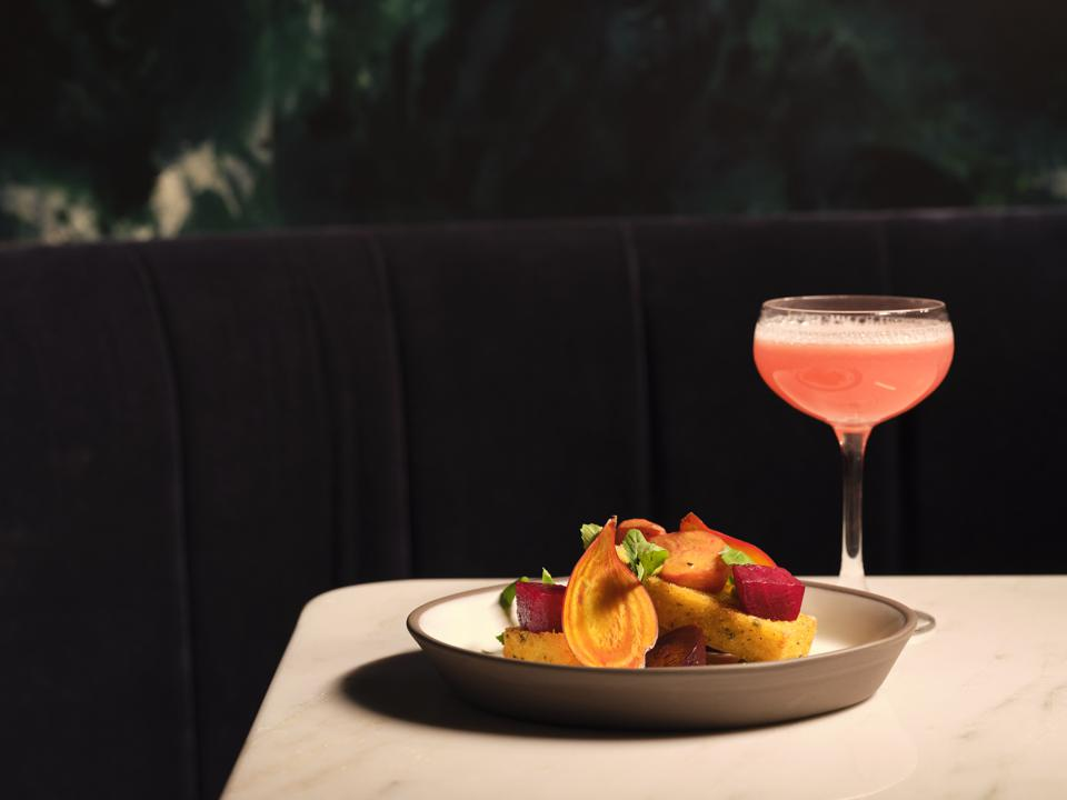 Roasted beets and a cocktail in a coupe