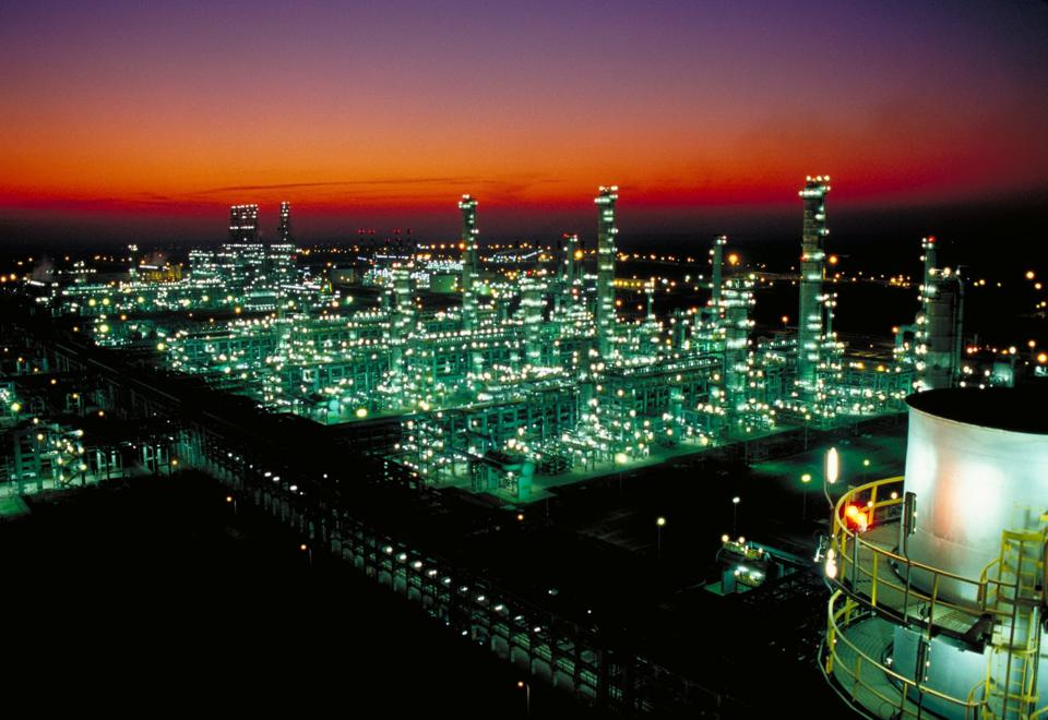 A large petrochemical factory at night.