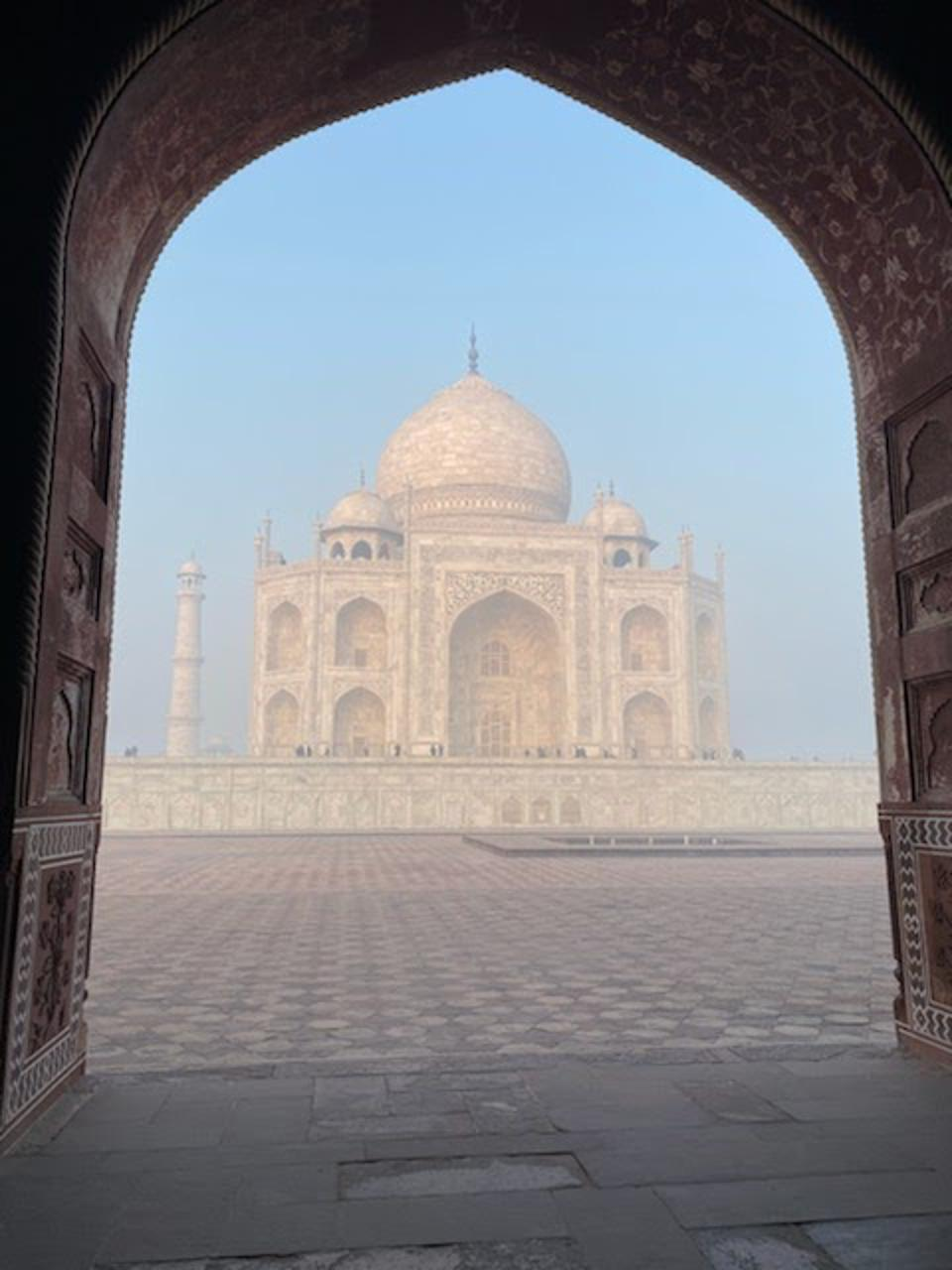 A view of the Taj Mahal in India.