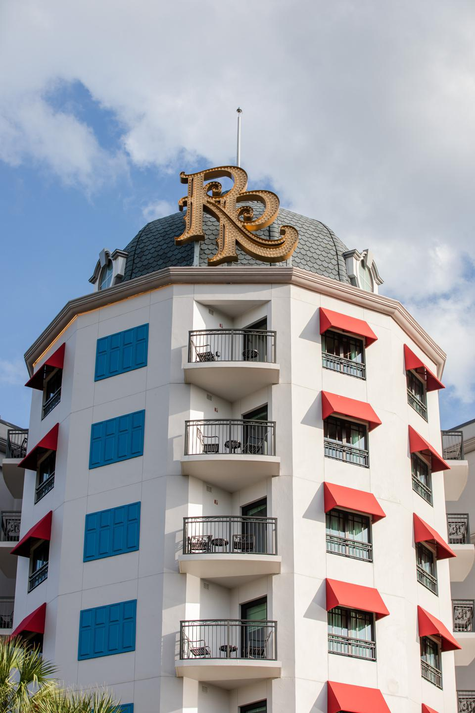 Two inter-locking letter Rs adorn the Riviera Resort's cupola echoing some of the most stately hotels in Europe