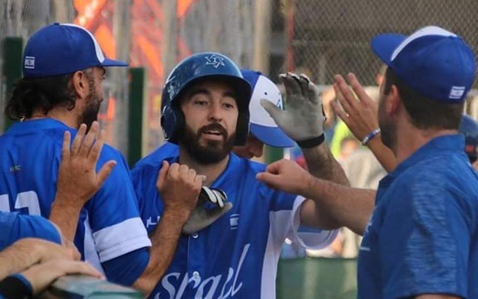 Jeremy Wolf of Team Israel, playing in the European Baseball Championship.