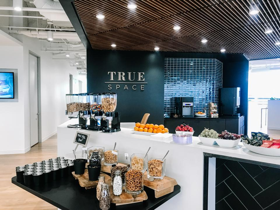 The TrueSpace headquarters, with snacks laid out in a kitchen.