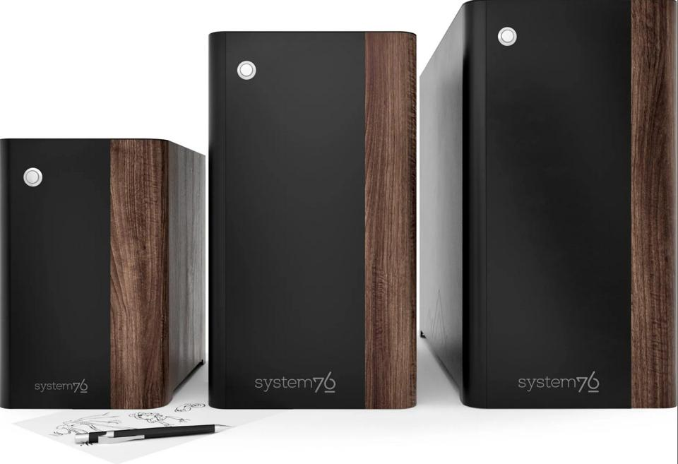 The trio of System76 Thelio desktops
