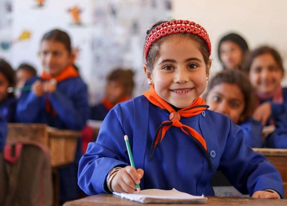 Support from UNICEF and partner Educate A Child made it possible for Catherine, 6, to start attending school in Maskana, eastern rural Aleppo, Syria.