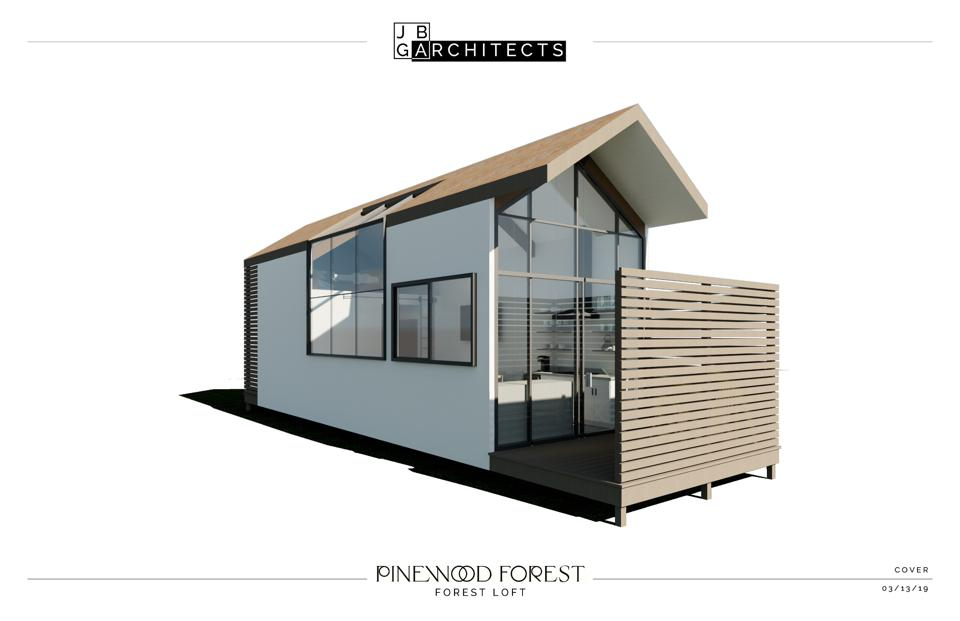 The exterior of the Forest Loft, one of the six micro homes currently at Pinewood Forest