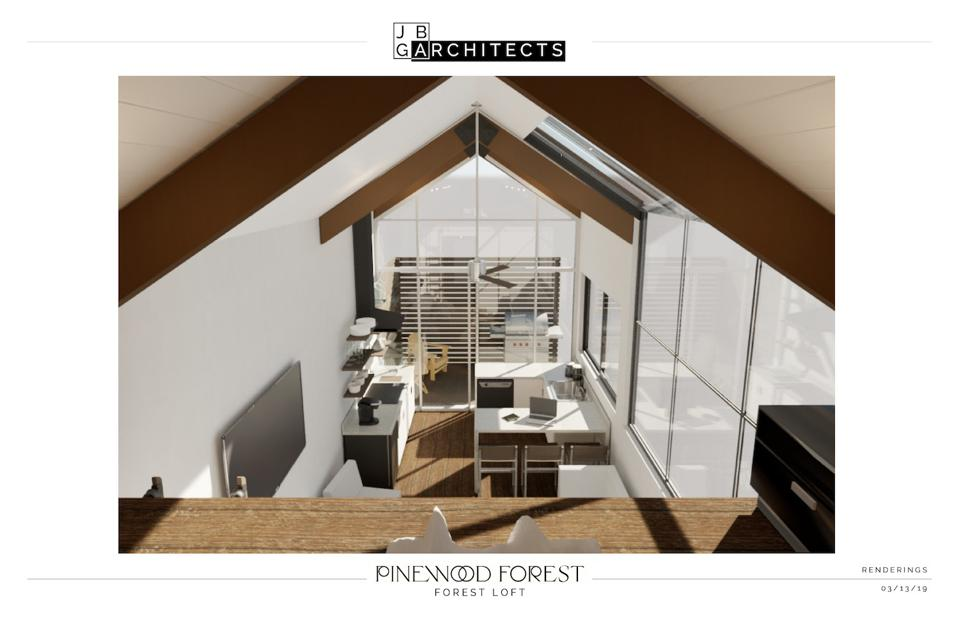 The interior rendering of the Forest Loft.