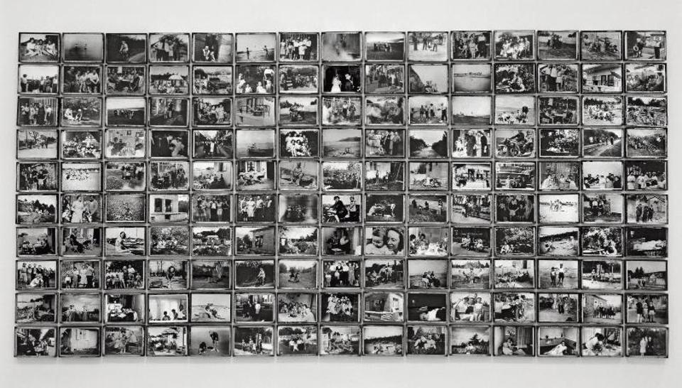 A mosaic of black and white photographs from a family album