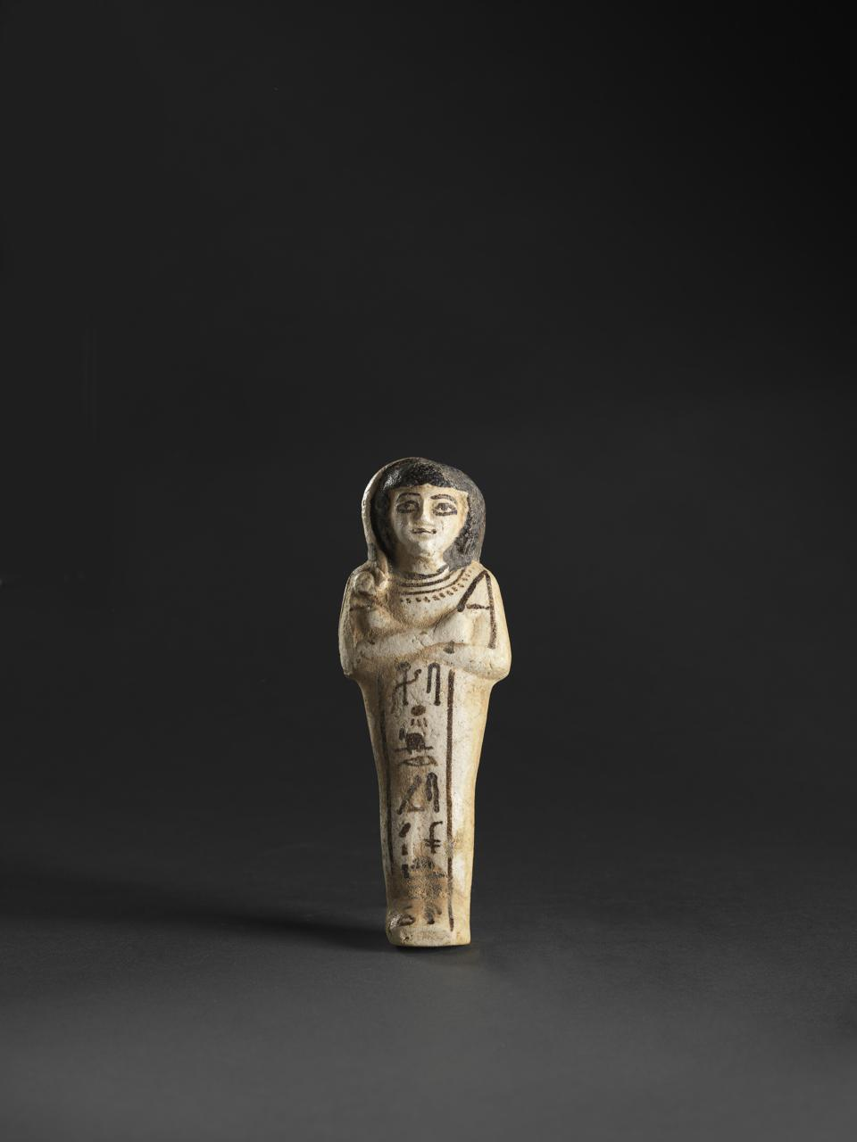 Ushabti figurine for Khaemwaset son of Ramesses II. New Kingdom, 19th Dynasty (13th century BCE). Glazed composition. L 15.5, W 5.5. Gift of Jeannette and Jonathan Rosen, New York, to American Friends of the Israel Museum. 2017.31.335