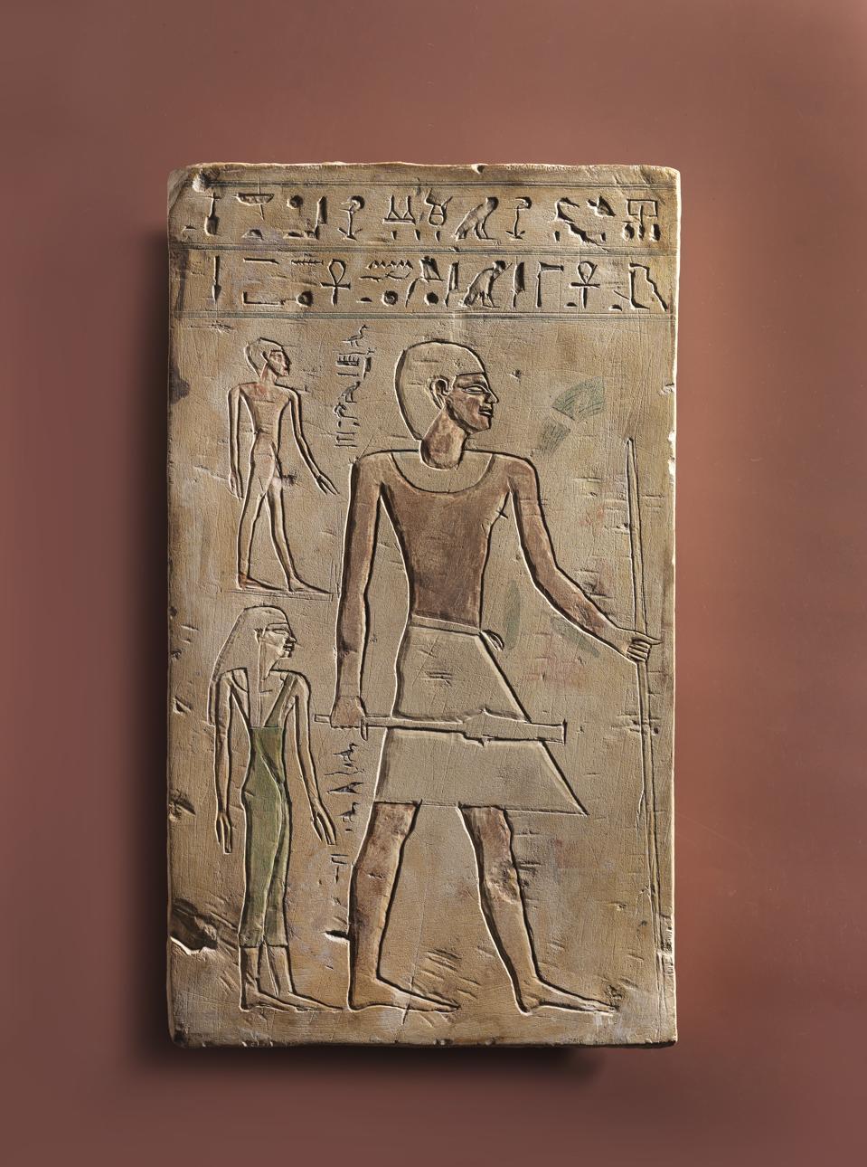 Funerary stela of Nekhetankh. Middle Kingdom, early 12th Dynasty (20th century BCE). Painted limestone. H 47, W 27. Harry Stern Collection, bequest of Kurt Stern, London. 76.14.867.