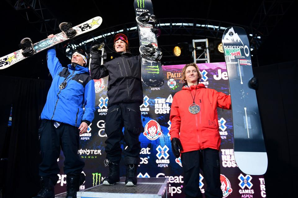 Red Gerard receives his bronze medal on the men's Slopestyle podium at X Games Aspen