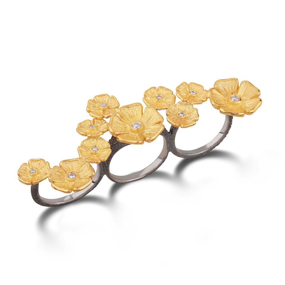 Stella Flame three finger flower ring made in Istanbul.