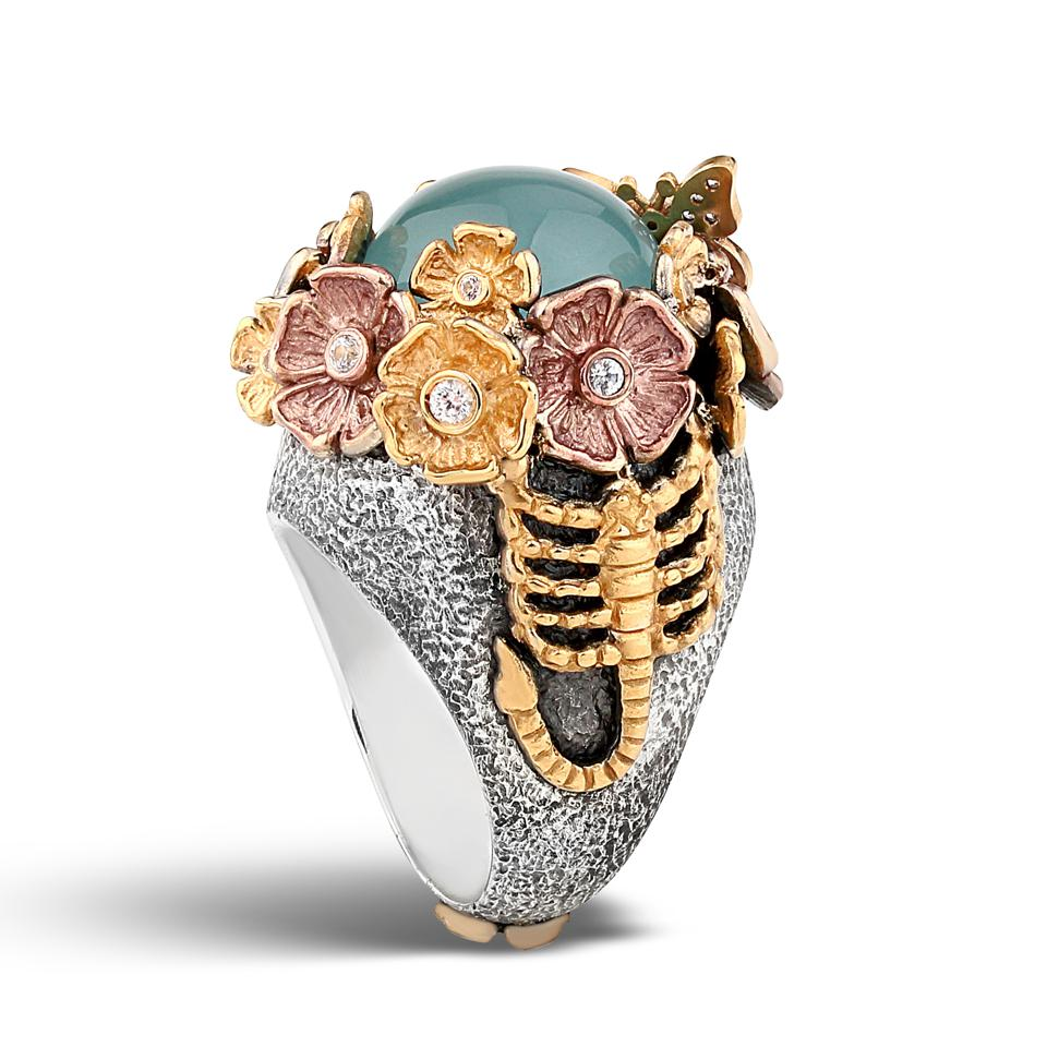 Aquamarine scorpion ring with white sapphires by Stella Flame