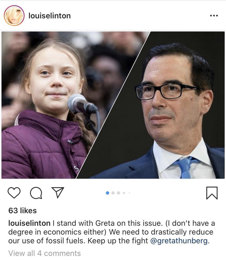 Louise Linton posts support of Greta Thunberg on Instagram.