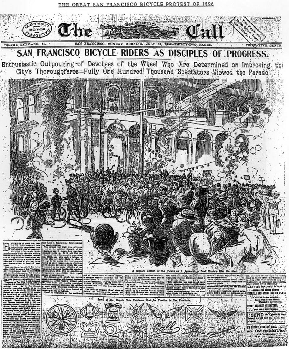 Sam Francisco's 1896 parade of bicyclists.