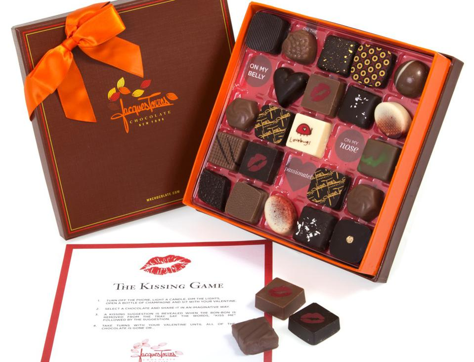 Jacques Torres kissing game chocolate box