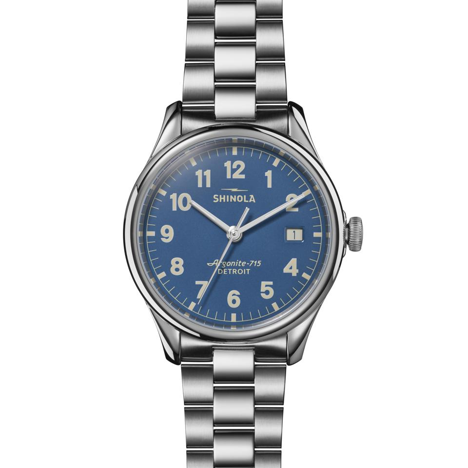 Shinola Smokey Robinson Great American Series 38mm timepiece with blue dial.