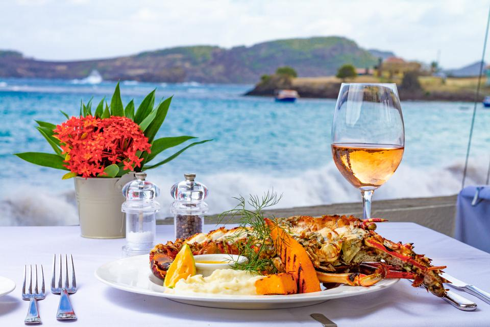 Lobster by the ocean at Bequia Beach Hotel.