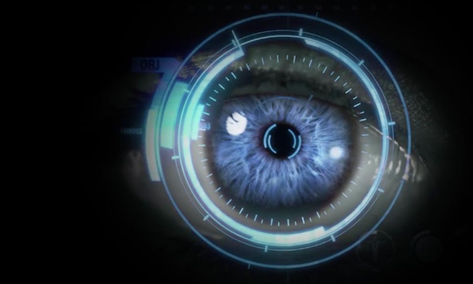 An image of a human eye overlaid with a digital computing layer.