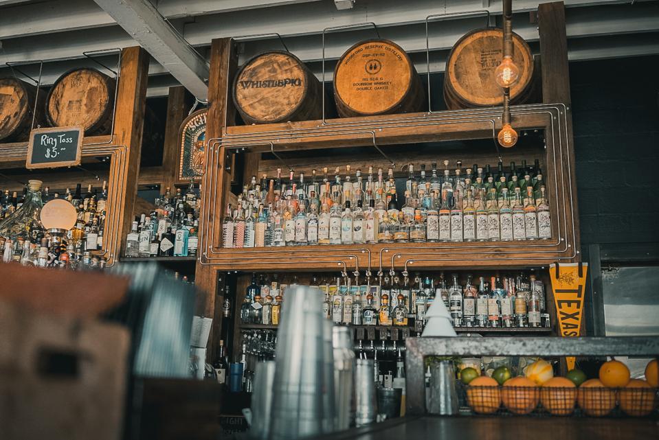 bottles of bourbon, sotol and beyond at Eight Row Flint