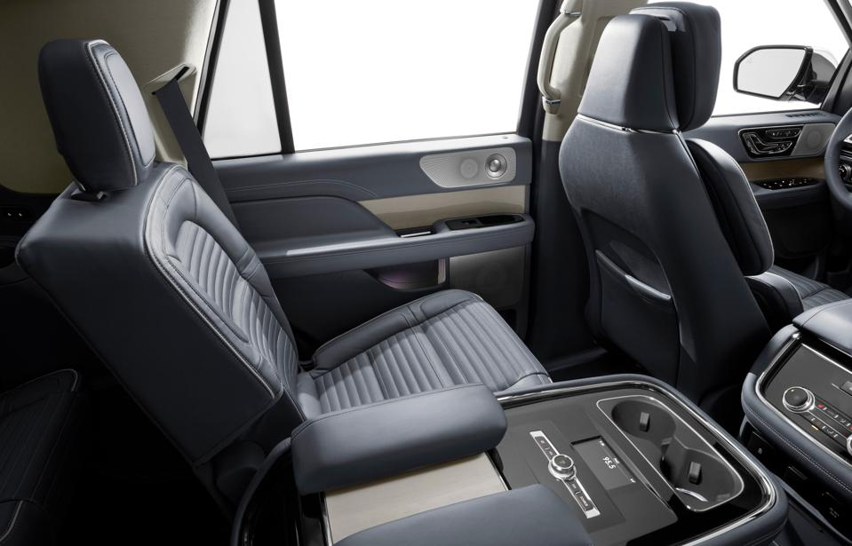 The second-row seating of the Lincoln Navigator fitted with the Yacht Club interior option.