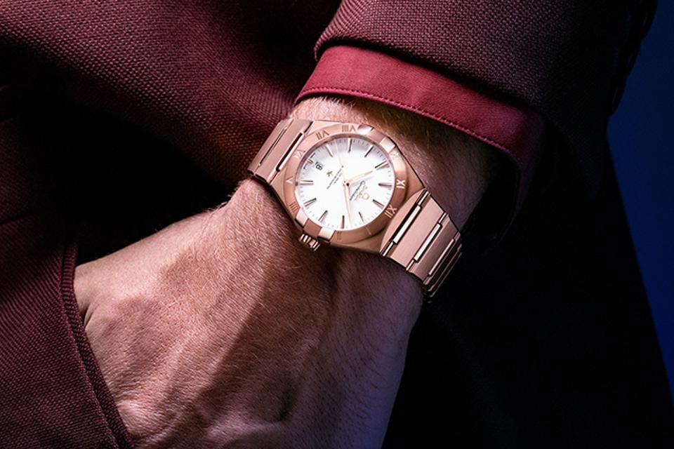 The new Omega Constellation in Sedna gold.