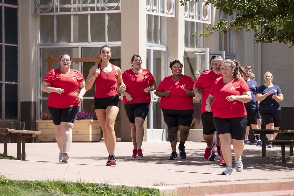 THE BIGGEST LOSER -- ″Time for Change″ Episode 101 -- Pictured: (l-r) Teri Aguiar, Erica Lugo, Katarina Bouton, PhiXavier Holmes, James DiBattista, Kristi McCart -- (Photo by: Richie Knapp/USA Network)