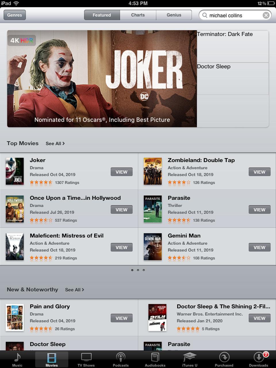 The iTunes Store on iPad 1