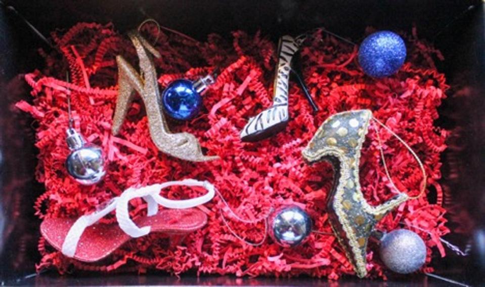 Shoebox of Christmas tree ornaments
