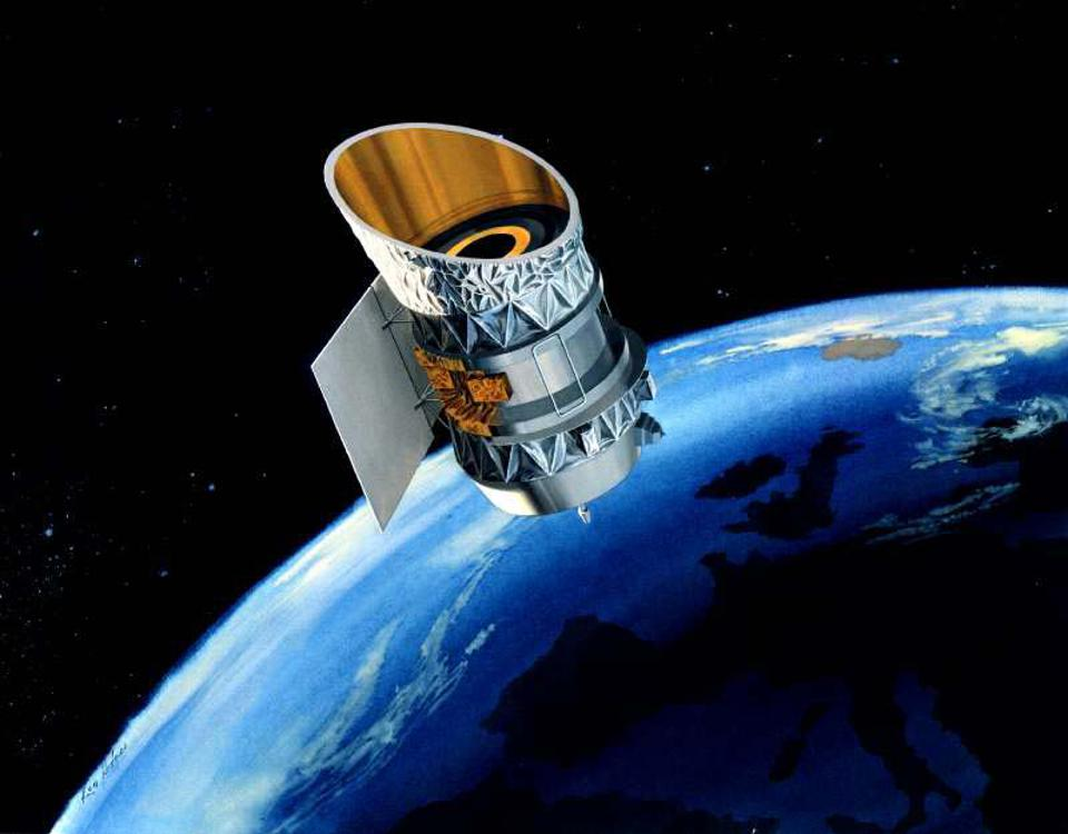 IRAS satellite in orbit