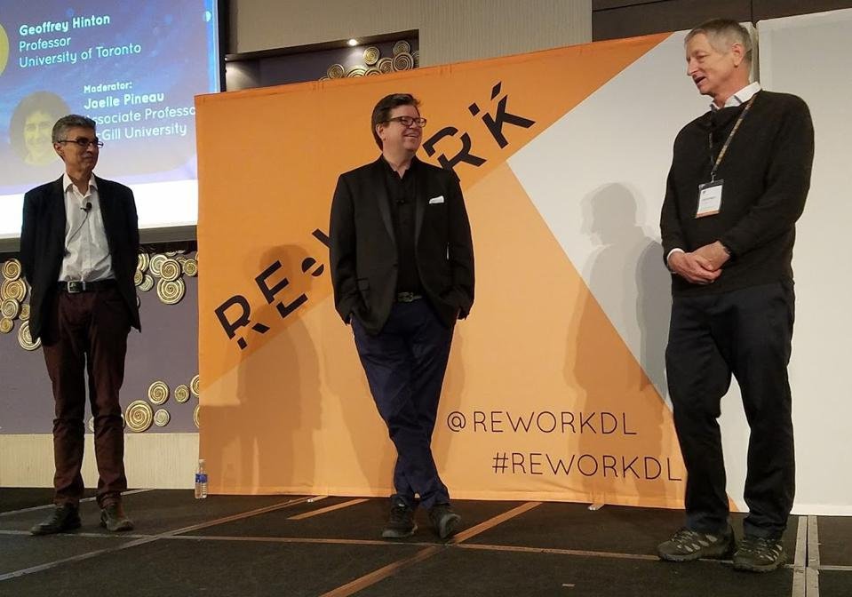 Turing Award winners (from left to right) Yoshua Bengio, Yann LeCun, and Geoffrey Hinton at the ReWork Deep Learning Summit, Montreal, October 2017.